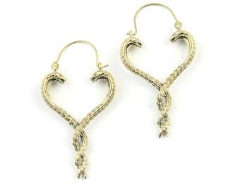 Twisted Snake Earrings, Cobra Earrings, Serpent, Boho, Heart Earrings, Tribal Earrings, Festival Jewelry, Gypsy Earrings, Ethnic