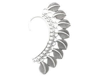 Feather Ear Wrap, Silver Ear Cuff, Boho Jewelry, Tribal Ear Jewelry,  Festival Jewelry, Gypsy, Ethnic, Hippie Jewelry