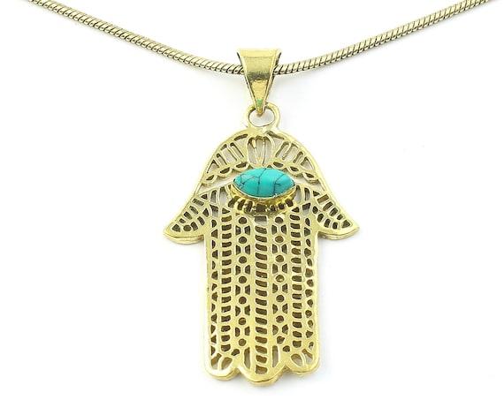 Turquoise Hamsa Necklace, Hand Of Fatima Pendant, Evil Eye, Jewish Jewelry, Festival Jewelry, Boho, Bohemian, Gypsy, Hippie, Spiritual
