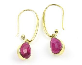 Pink Chalcedony Earrings, Drop Earrings, Modern Brass Earrings, Gemstone Jewelry, Minimal Brass Earrings, Festival Earrings, Gypsy Earrings