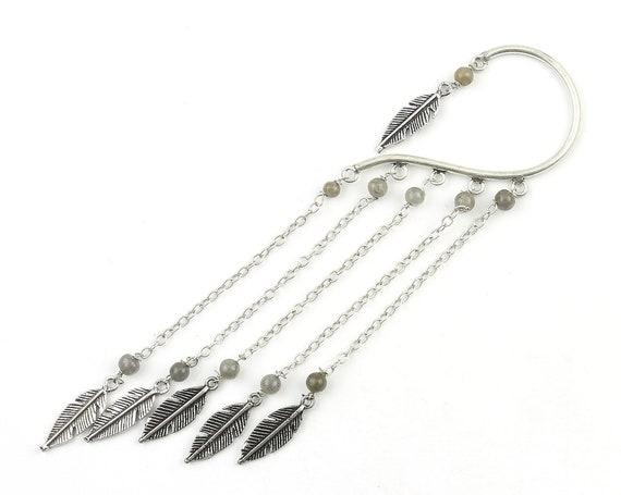 Dangle Feather Ear Wrap, Ear Cuff, Boho Jewelry, Tribal Ear Jewelry,  Festival Jewelry, Gypsy, Ethnic, Hippie Jewelry