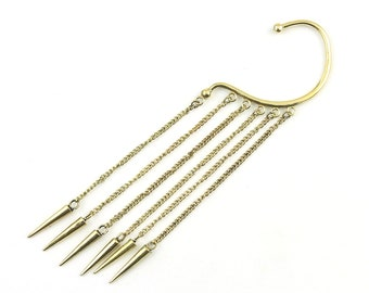 Dangle Spike Ear Wrap, Brass Ear Cuff, Boho Jewelry, Tribal Ear Jewelry,  Festival Jewelry, Gypsy, Ethnic, Hippie Jewelry