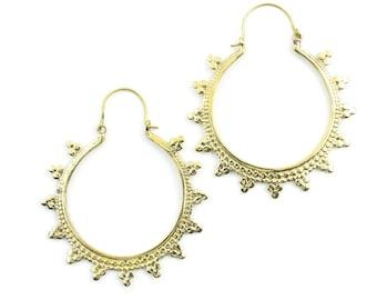 Mandala Brass Earrings, Large Hoop Earrings, Boho Earrings, Tribal Earrings, Festival Jewelry, Gypsy Earrings, Ethnic, Yoga