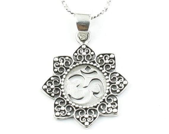 Sterling Silver Mandala Om Necklace, Yoga Jewelry, Meditation, Spiritual, Boho, Gypsy, Festival, Hippie