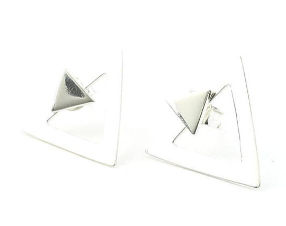 Sterling Silver Triangle Ear Jacket Earrings, Front and Back Geometric Posts, Double Sided, Minimal, Modern, Boho, Gypsy, Festival Jewelry