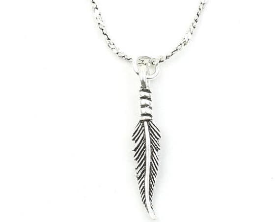 Sterling Silver Feather Necklace, Small, Southwestern, Yoga Jewelry, Meditation, Spiritual, Boho, Bohemian, Gypsy, Festival, Hippie