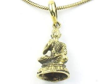 Protection Buddha Necklace, Brass Sitting Buddha Pendant, Meditation, Yoga, Festival Jewelry, Boho, Bohemian, Gypsy, Hippie, Spiritual