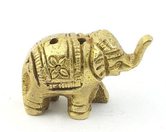 Small Brass Elephant Incense Holder Statue, Spiritual, Deity Statue, Meditation Statue, Home Decor, Alter Ornament