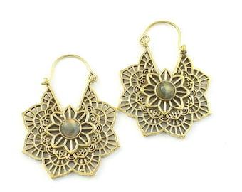 Mandala Brass Earrings, Labradorite, Gemstone Jewelry, Mehndi Brass Earrings,  Festival Earrings, Gypsy Earrings, Ethnic Earrings