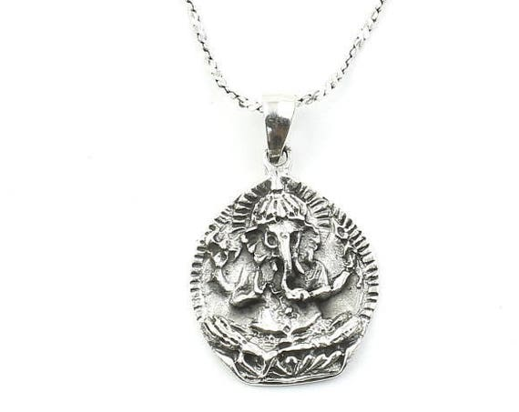 Sterling Silver Ganesh Necklace, Ganesha, Elephant, Yoga Jewelry, Meditation, Spiritual, Boho, Gypsy, Festival, Hippie