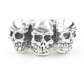 Sterling Silver Skull Ring, 3 Skulls, Skeleton Ring, Biker, Motorcycle, Boho, Gypsy, Wiccan, Festival Jewelry, Spiritual
