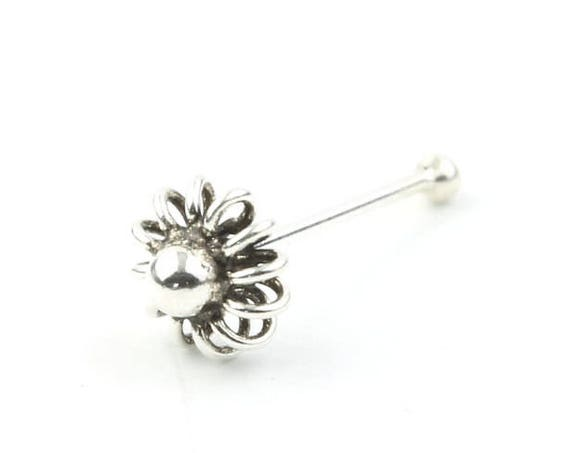 Sterling Silver Daisy Nose Stud, Flower Nose Pin, Nose Jewelry, Boho, Bohemian, Gypsy, Festival Jewelry