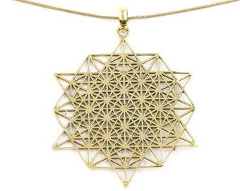 Sacred Geometry Necklace, Brass necklace, Festival Jewelry, Spiritual Jewelry, Yoga, Meditation, Hippie Jewelry