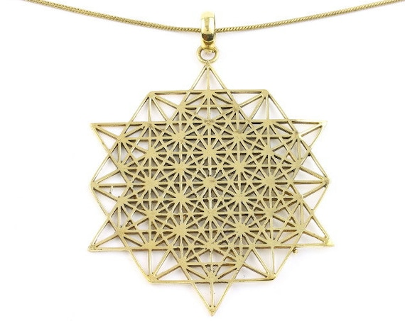 Sacred Geometry Necklace, Brass necklace, Festival Jewelry, Spiritual Jewelry, Yoga, Meditation, Hippie Jewelry