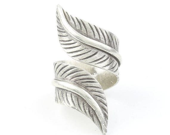 Sterling Silver Feather Ring, Large, Statement Piece, Organic, Boho, Bohemian, Hippie, Gypsy, Festival Jewelry