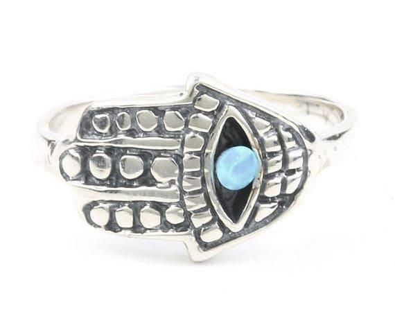 Sterling Silver Hamsa Opal Ring, Evil Eye, Hand Of Fatima, Jewish Jewelry, Lab Opal, Boho, Bohemian, Gypsy, Festival Jewelry, Gemstone