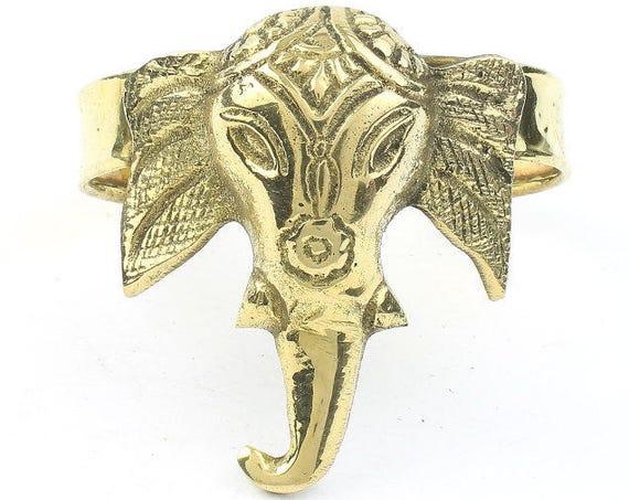 Elephant Cuff Bracelet, Metal Arm Cuff, Wide Elephant Cuff, Tribal Arm Band, Festival Jewelry, Gypsy Jewelry, Boho, Ganesh, Ganesha