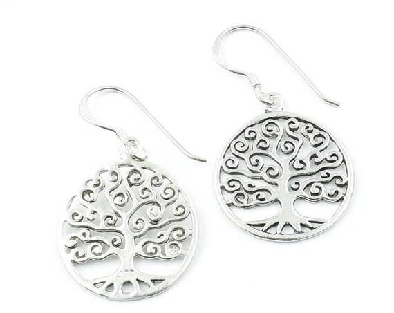 Sterling Silver Tree Of Life Earrings, Dangling Tree Earrings, Boho, Bohemian, Gypsy, Festival Jewelry