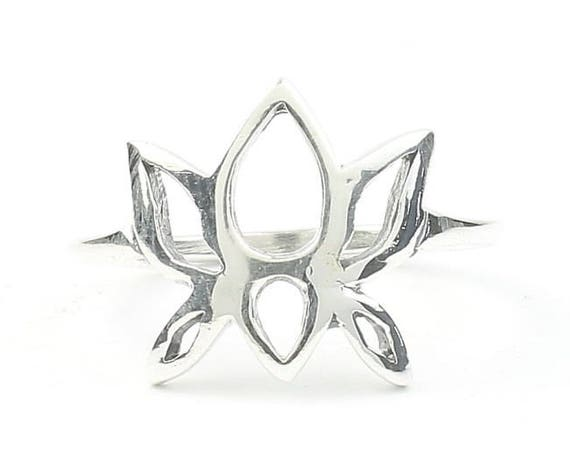 Sterling Silver Lotus Flower Ring, Yoga Jewelry, Meditation, Spiritual, Nature, Flower, Boho, Bohemian, Gypsy, Hippie, Festival Jewelry