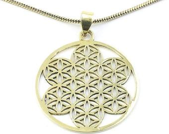 Brass Flower Of Life Necklace, Sacred Geometry Pendant, Geometric, Yoga Jewelry, Festival Jewelry, Boho, Bohemian, Gypsy, Hippie, Spiritual