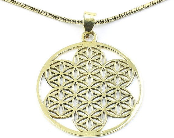 Brass Flower Of Life Necklace, Sacred Geometry Pendant, Geometric, Yoga Jewelry, Festival Jewelry, Boho, Bohemian, Gypsy, Hippie, Spiritual