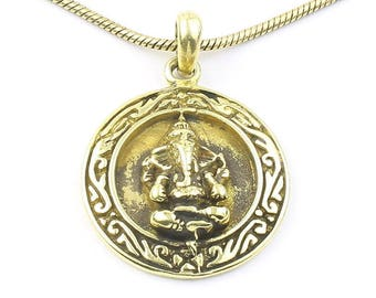 Brass Ganesh Necklace, Ganesha Pendant, Elephant, Yoga, Festival Jewelry, Boho, Bohemian, Gypsy, Hippie, Spiritual