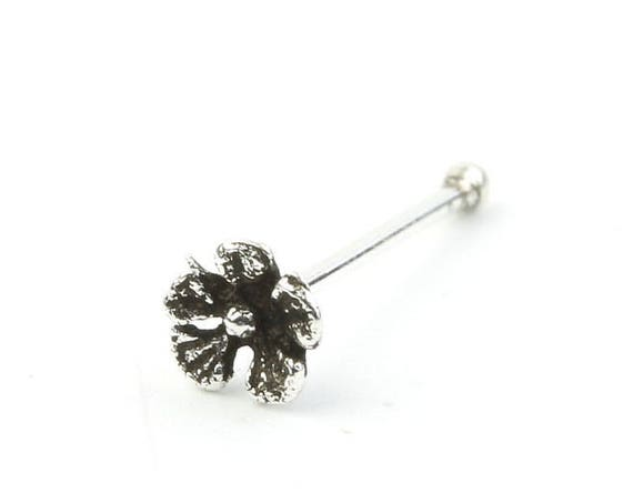 Sterling Silver Flower Nose Stud, Flower Nose Pin, Nose Jewelry, Boho, Bohemian, Gypsy, Festival Jewelry
