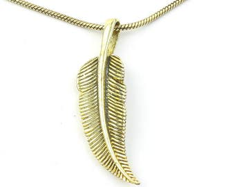 Brass Feather Necklace, Feather Pendant, Western, Indian, Festival Jewelry, Boho, Bohemian, Gypsy, Hippie, Spiritual