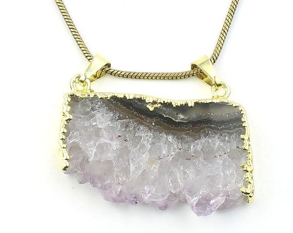Raw Amethyst Brass Necklace, Crystal Necklace, Gemstone, Festival Jewelry, Boho, Bohemian, Yoga, Gypsy, Hippie, Spiritual