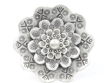 LARGE Sterling Silver Mandala Flower Ring, Statement Piece, Organic, Boho, Bohemian, Hippie, Gypsy, Festival Jewelry