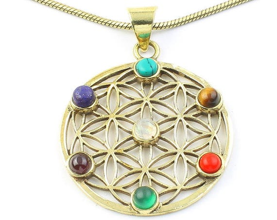 Chakra Flower Of Life Necklace, Sacred Geometry Pendant, Geometric, Yoga Jewelry, Festival Jewelry, Boho, Bohemian, Gypsy, Hippie, Spiritual