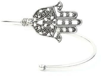 Hamsa Bracelet, Evil Eye, Hand of Fatima, Armlet, Bangle, Lower Arm Cuff, Middle East, Jewish, Boho, Bohemian, Gypsy, Festival, Hippie