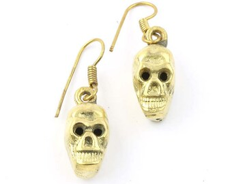 Two Faced Brass Skull Earrings, Skeleton, Biker, Modern, Boho, Wiccan, Festival Jewelry, Gypsy, Contemporary