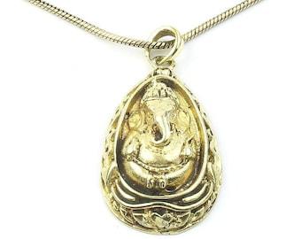 Ganesha Necklace, Brass Ganesh Pendant, Elephant, Yoga, Festival Jewelry, Boho, Bohemian, Gypsy, Hippie, Spiritual