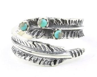 Sterling Silver Feather Turquoise Ring, Boho, Bohemian, Gypsy, Festival Jewelry, Gemstone, Southwestern