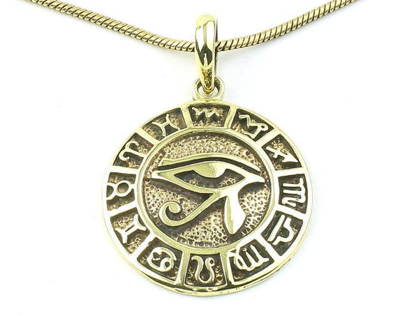 Eye Of Horus Necklace, Zodiac Wheel, Eye Of Ra Pendant, Egpytian, Star Signs, Festival Jewelry, Boho, Bohemian, Gypsy, Hippie, Spiritual
