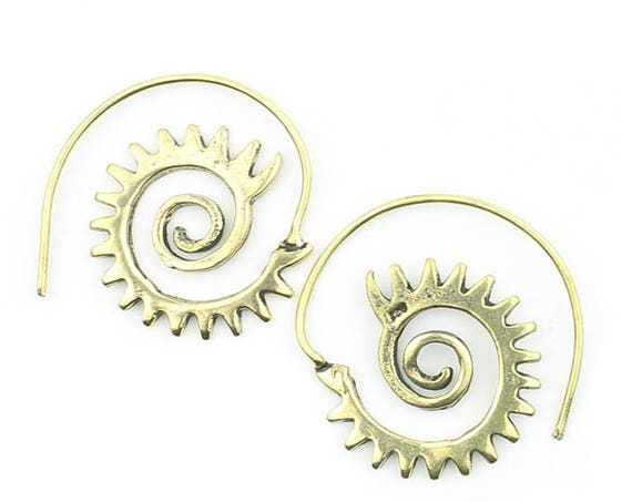 Sun Goddess Earrings, Brass Ethnic Earrings, Spiral, Boho, Bohemian, Tribal, Festival Jewelry, Gypsy, Hippie, Contemporary, Statement Piece