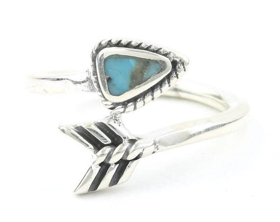 Sterling Silver Turquoise Arrow Ring, Boho, Bohemian, Gypsy, Festival Jewelry, Gemstone, Southwestern