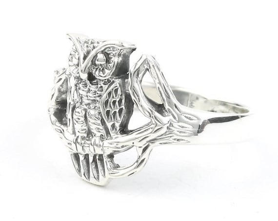 Sterling Silver Owl Ring, Tree Ring, Bird, Boho, Bohemian, Wicca, Gypsy, Festival Jewelry, Hippie Jewelry, Nature