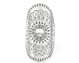 Sterling Silver Aruna Ring, Large, Full Finger, Shield, Statement Piece, Organic, Boho, Bohemian, Hippie, Gypsy, Festival Jewelry