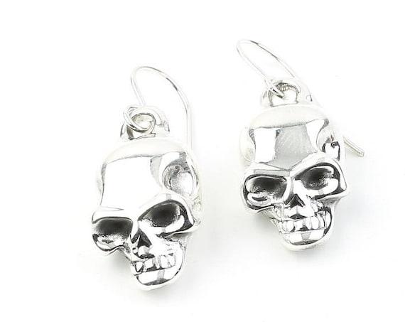 Sterling Silver Skull Earrings, Dangling Skull Earrings, Biker Jewelry, Bones, Skeleton, Boho, Bohemian, Gypsy, Festival Jewelry