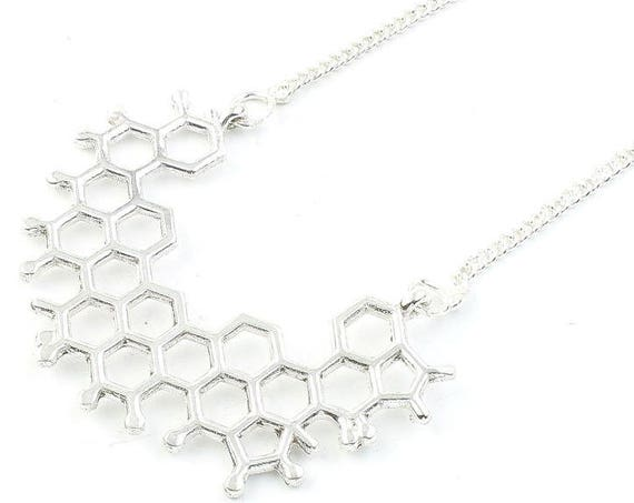 Molecule Necklace, Geometric, Science, Tribal, Yoga Jewelry, Festival Jewelry, Boho, Bohemian, Gypsy, Hippie, Spiritual