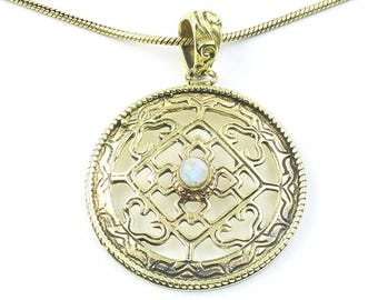 Celtic Moonstone Necklace, Geometric Pendant, Rainbow Moonstone, Celtic Knots, Festival Jewelry, Boho, Bohemian, Gypsy, Hippie, Spiritual