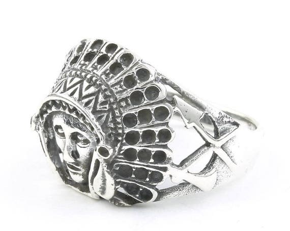 Sterling Silver Indian Chief Ring, Headdress, Feathers, Arrow, Boho, Gypsy, Festival Jewelry, Southwestern Design