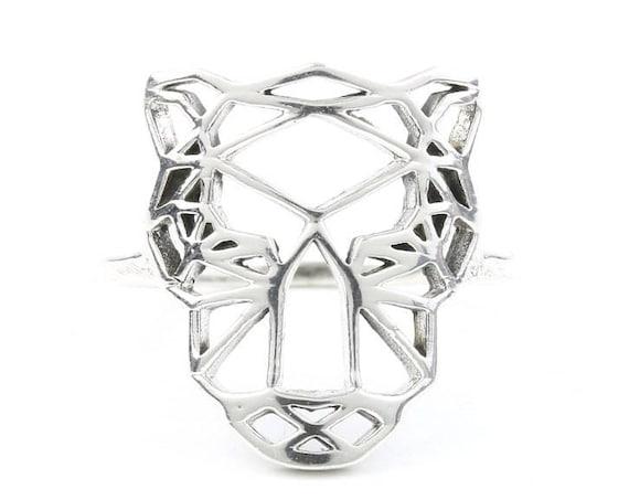 Sterling Silver Tiger Ring, Geometric Ring, Leopard Ring,  Minimal ring, EDM, Boho Ring, Animal Ring, Gypsy Ring