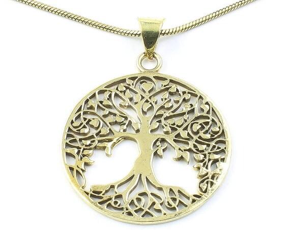 Brass Tree of Life Necklace, Tree Pendant, Festival Jewelry, Boho, Bohemian, Gypsy, Celtic, Hippie, Family Tree, Yoga Jewelry, Spiritual