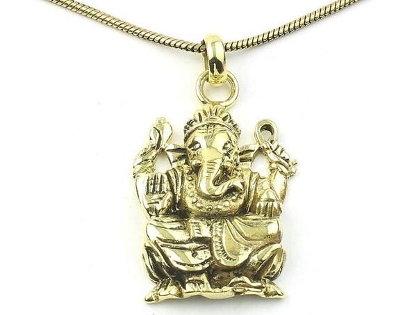 Ganesh Necklace, Brass Ganesha Pendant, Elephant, Yoga, Festival Jewelry, Boho, Bohemian, Gypsy, Hippie, Spiritual