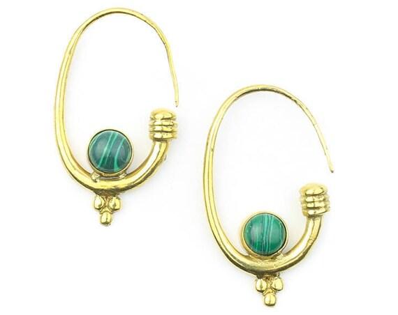 Malachite Luna Earrings, Brass, Malachite , Boho, Bohemian, Tribal Earrings, Festival Jewelry, Gypsy Earrings, Ethnic, Hippie