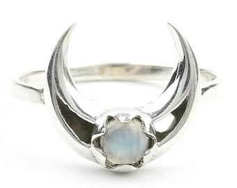 Moonstone Moon Ring, Sterling Silver Crescent Moon Moonstone Ring, Stone Jewelry, Gemstone, Crystals, Boho, Gypsy, Minimal