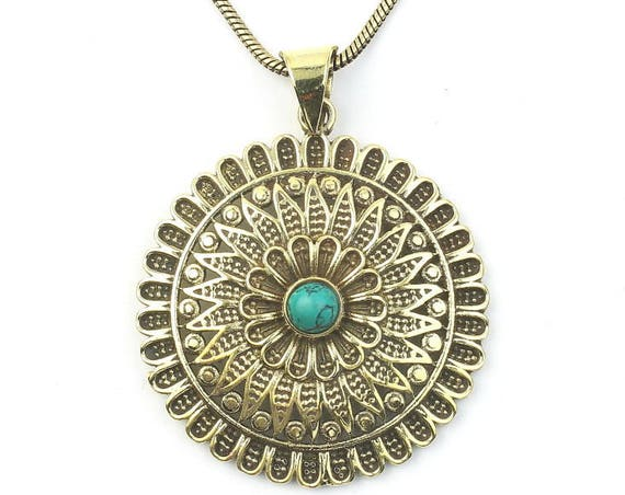 Mandala Brass Necklace, turquoise Necklace, Mandala Pendant, Yoga Jewelry, Festival Jewelry, Ethnic, Tribal, Spiritual